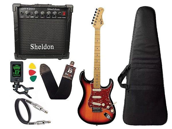 kit Guitarra Tagima TG 530 Woodstock Sunburst Cubo Sheldon