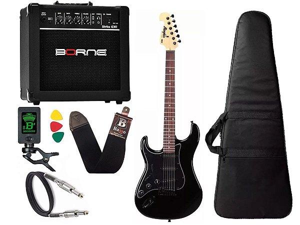 kit Guitarra Tagima Memphis Mg32 Canhoto preto cubo borne