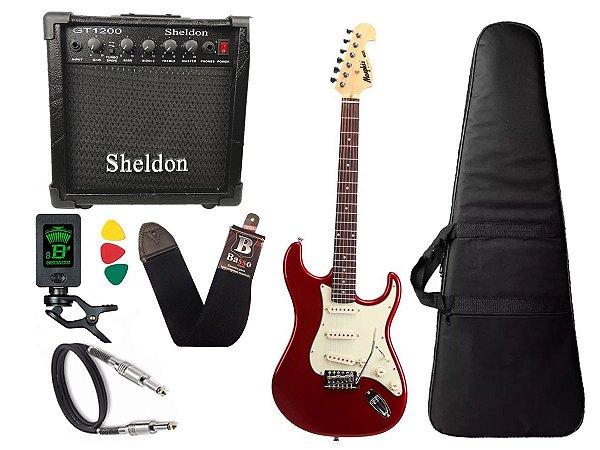 Kit Guitarra Tagima Memphis Mg32 Vermelho Cubo Sheldon