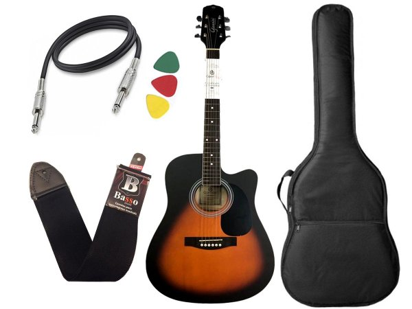 Kit Violão Giannini Folk Gdc 1 Ceq Sunburst capa regulado