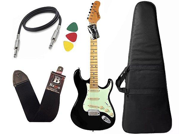 Kit guitarra tagima t635 preta escala clara capa correia