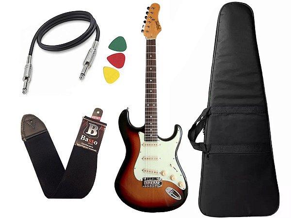 Kit guitarra tagima t635 Sunburst escala Escura capa correia