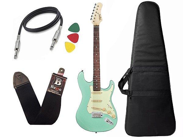 Kit Guitarra tagima t635 surf green verde escala escura Capa