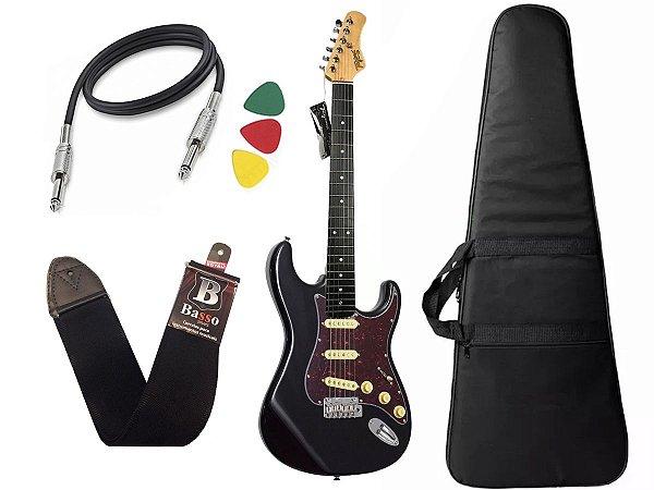 Kit guitarra tagima t635 preta escala escura  tortoise capa
