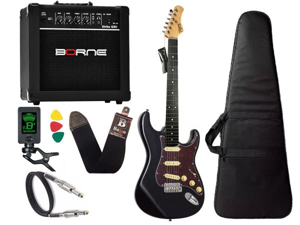 Kit guitarra tagima t635 preta escala escura cubo borne 15w