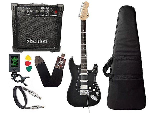 Kit Guitarra Phx Strato Power St H Sth Preto Cubo Sheldon