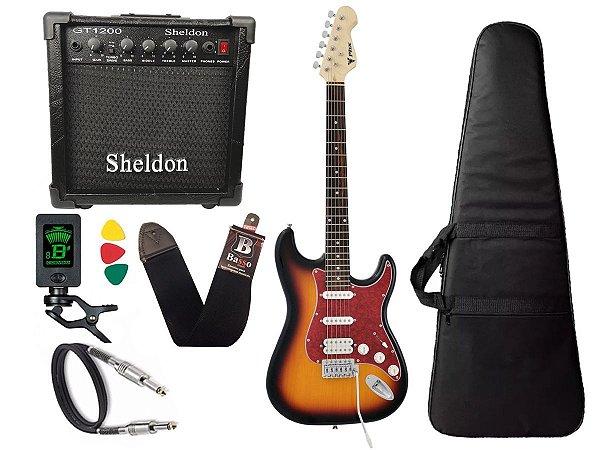 Kit Guitarra Phx Strato Power St H Sth Sunburst Cubo Sheldon