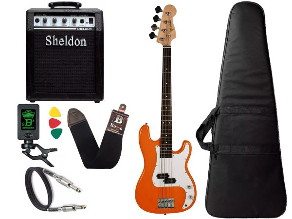 Kit Baixo Precision PHX PBS OR Laranja 4 Cordas Amplificador Sheldon