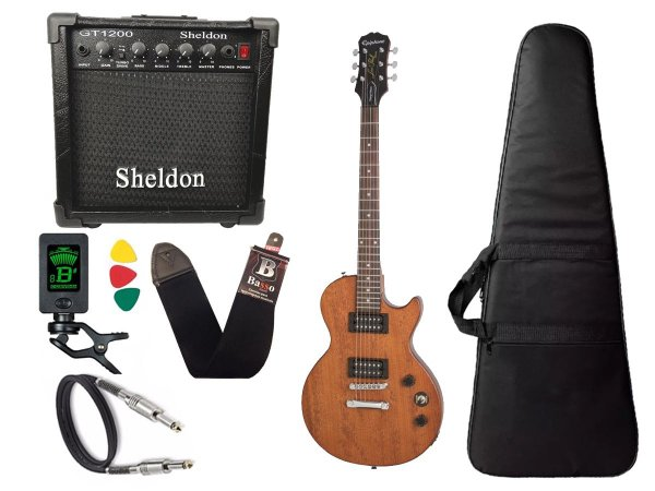 Guitarra les paul Epiphone Special VE Walnut caixa amplificador sheldon
