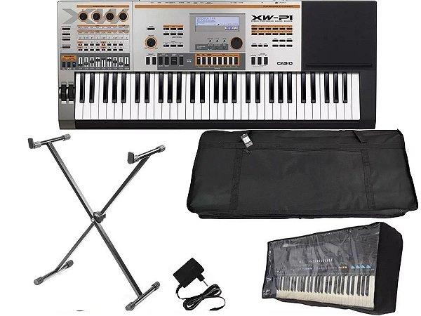 teclado sintetizador casio xw p1 61 teclas profissional + suporte pedestal + capa bag + forro