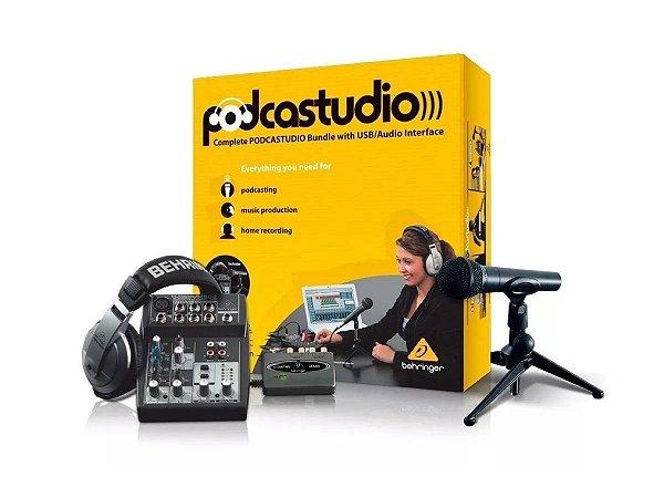 Kit Podcast Estúdio Behringer mesa microfone interface gravação
