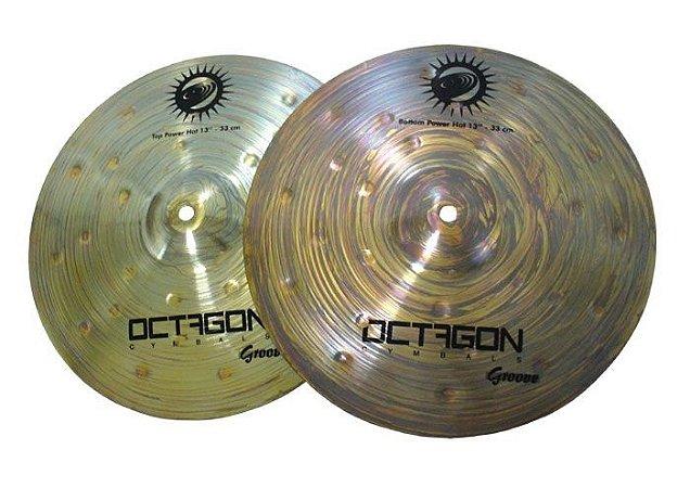 Prato Chimbal Hi Hat 14 Octagon Groove B8 Profissional + Nf + garantia