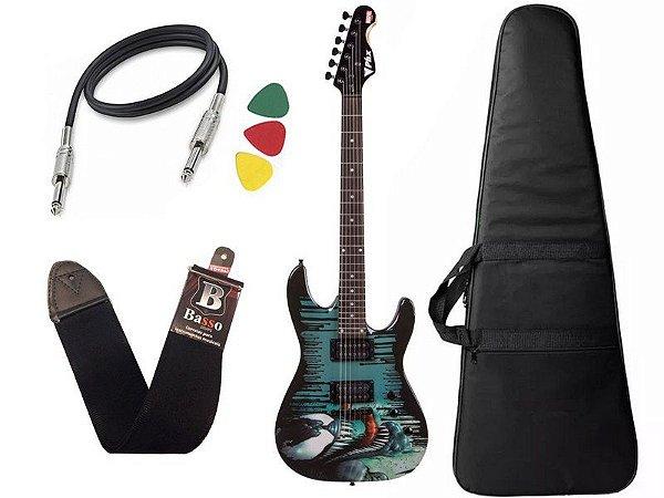 Kit Guitarra Venom Marvel Phx Gmv1 Capa Bag Correia