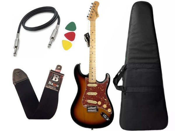 Kit Guitarra tagima t635 Sunburst escala clara escudo Tortoise