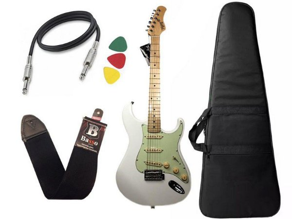 Kit guitarra tagima t635 Branca escala clara capa correia