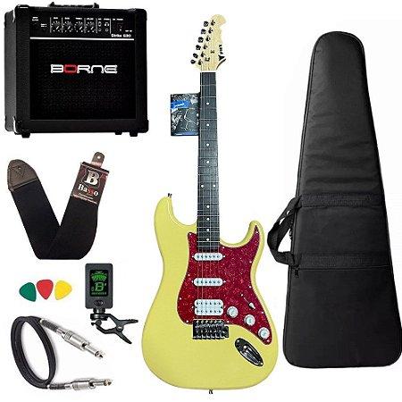 Kit Guitarra Strato Phx Sth Creme cubo amplificador borne