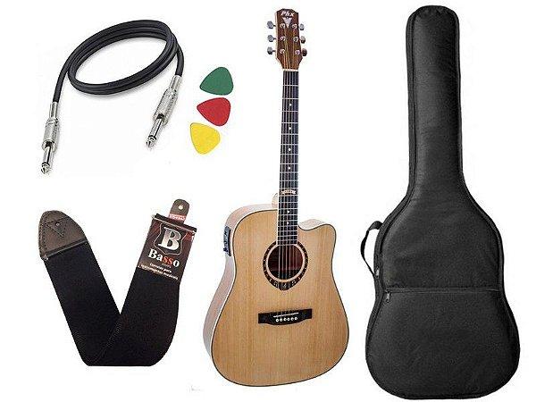 Kit Violão Elétrico Folk Phx Px199 84 Modelo Novo Bag