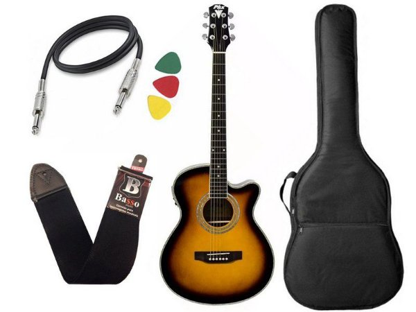 Kit Violao Eletrico Phx Aço Px188 Sunburst Bag