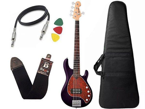 Kit Contra Baixo Phx Msr Five Msr5 Roxo Bag Capa