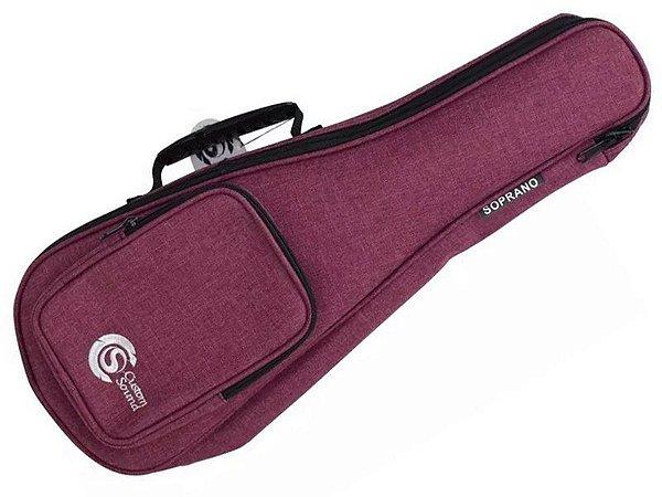 Capa Bag Ukulele Soprano acolchoado Confort Custom Sound vinho