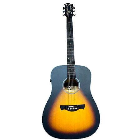 Violão Tagima Tw25 sunburst Woodstock Elétrico Aço afinador