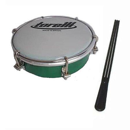 Tamborim Torelli Pele Leitosa Tt404 Cor Verde + Baqueta