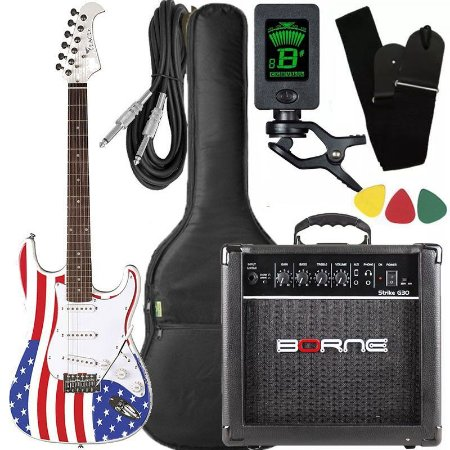 Kit Guitarra Eagle STS 001 Stratocaster US Flag Borne Capa