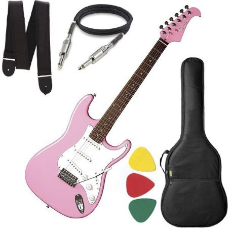 Guitarra Eagle STS 001 Stratocaster Rosa Capa Cabo e Alça