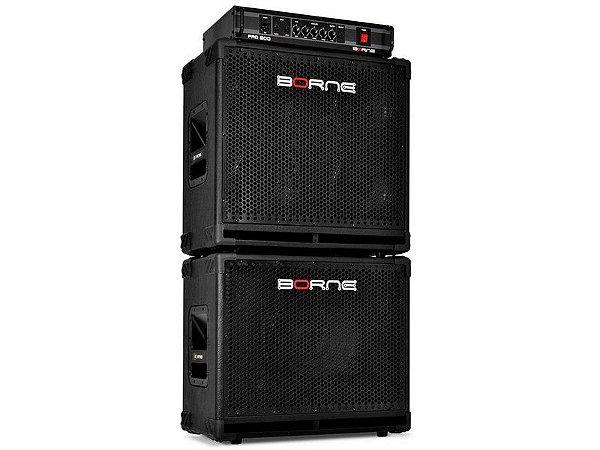 Kit Borne Baixo Cabeçote Pro 500 400w Rms Caixas 1x12 + 4x8