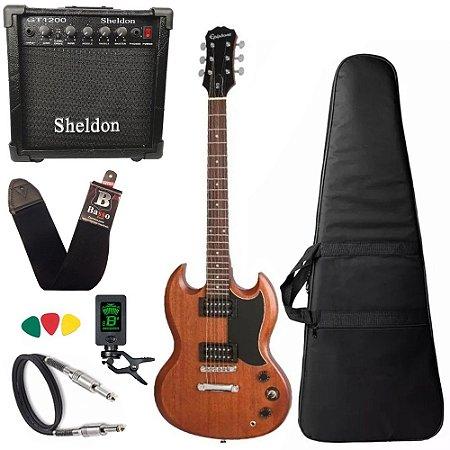 Guitarra sg Epiphone Ve special Walnut caixa amplificador sheldon - Regulado