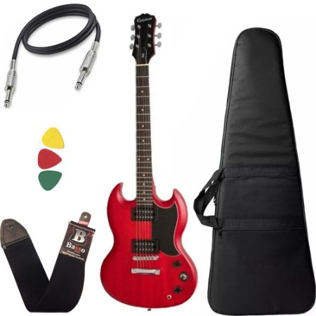 Kit Guitarra SG Epiphone Ve special Ebony Vermelho + capa Bag