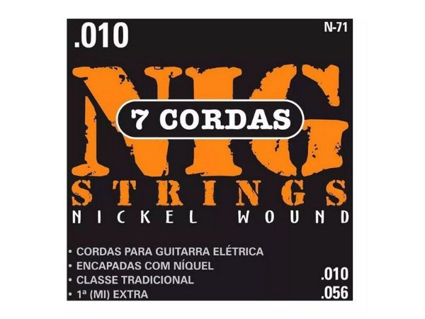 Encordoamento Guitarra 7 Cordas Aço 010 056 Nig N71 Corda (Mi) Brinde + Palheta