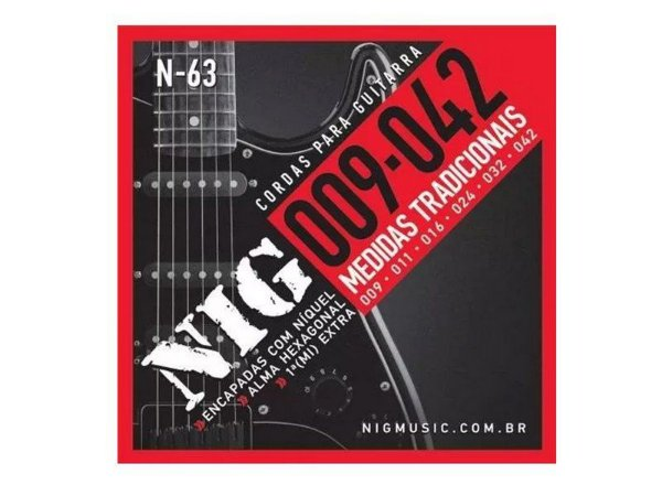 Encordoamento Guitarra Aço 09 042 Nig N63 Tradicional Corda