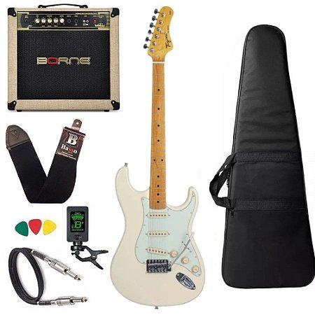 Kit Guitarra Tagima Tg530 Branco Vint OWH Cubo Vorax 1050 w