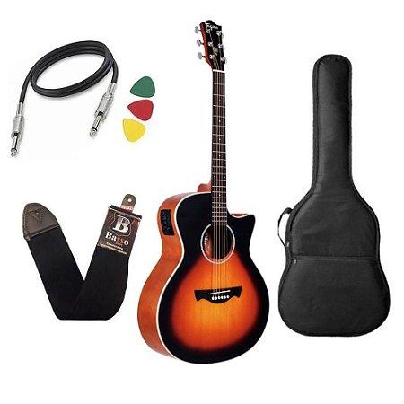 Violão Tagima Woodstock Tw29 Sunburst Elétrico capa bag