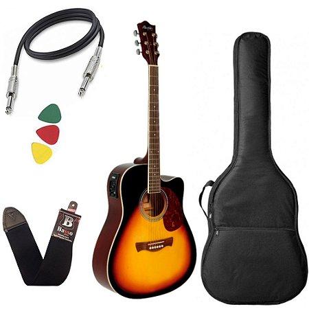 Kit Violao Tagima Memphis Md18 Sunburst Aço Capa Bag