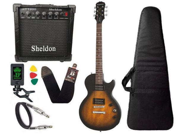 Guitarra les paul Epiphone Special VE BrownBurst caixa amplificador sheldon