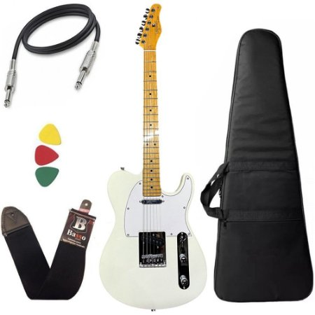 Kit Guitarra Tagima Telecaster Tw55 Cor Branco Pérola Bag