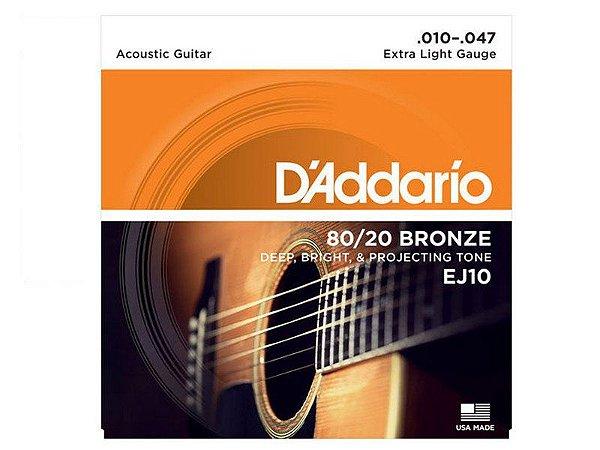 Encordoamento Daddario Violão 010 Aço Bronze EJ10 - original