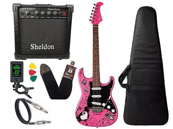 Kit Guitarra Eagle Egp10cr Rosa Pink Caixa Amplificador Shel