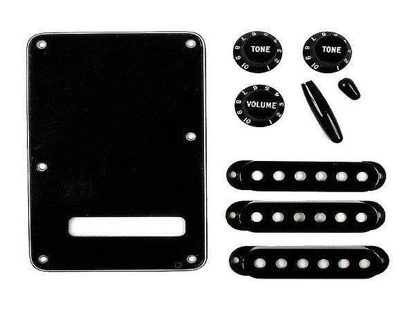 Kit fender Guitarra stratocaster knob tampa captador Preto