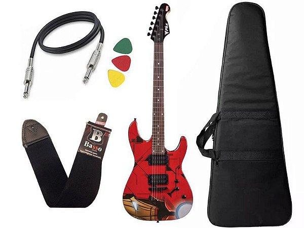 KIt Guitarra Iron Man Homem De Ferro Phx Marvel GMI1 Capa Bag