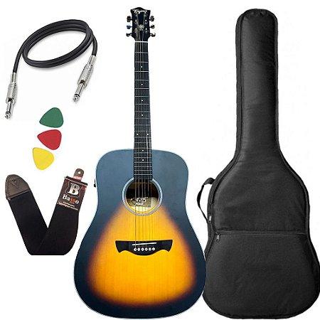 Violão Tagima Tw25 sunburst Woodstock Elétrico Aço capa bag