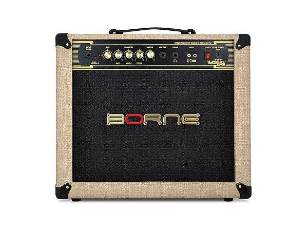 Amplificador Borne Vorax 1050 50w cor Palha + fonte 5 pedais