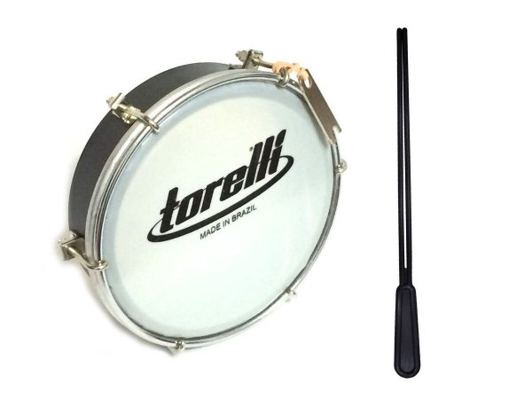 Tamborim Torelli Pele Leitosa Tt404 Cor Preto + Baqueta