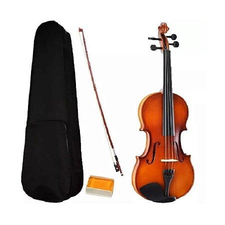 Violino 3/4 Madeira Natural Estojo Luxo Arco Breu Sverve