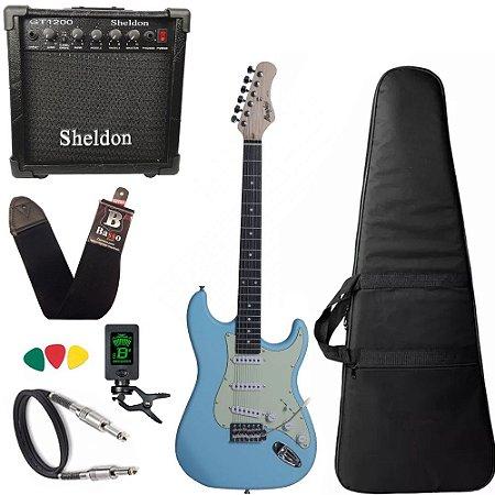 Kit Guitarra Azul Claro Tagima Memphis Mg30 Cubo Sheldon