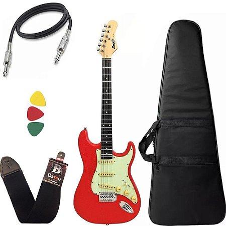 Guitarra Stratocaster Vermelha Tagima Memphis Mg30 Com Capa