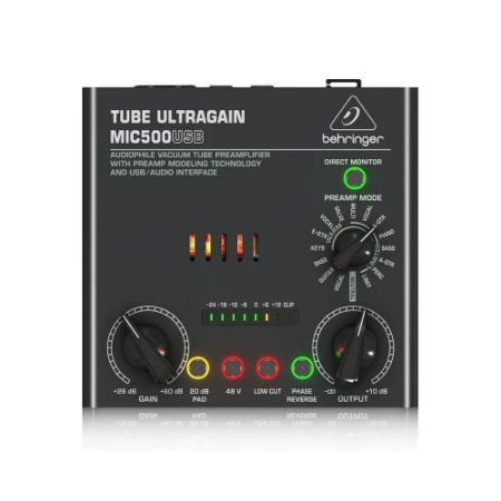 Pré Amplificador Valvulado Behringer Vacuum Tube Mic500 Usb