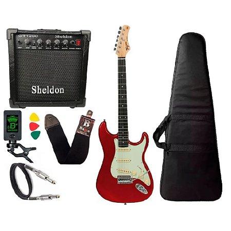 Kit Guitarra Tagima Tg500 Vermelho Cubo Amplificador Sheldon